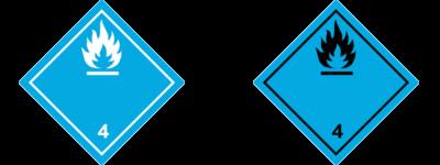 etichetta-adr-4.3-4.4-materie-contatto-con-acqua-sviluppano-gas-infiammabili-versioni