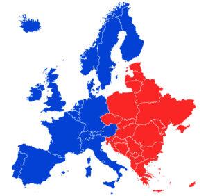 Cartina dell'Unione Europea divisa tra EST e OVEST